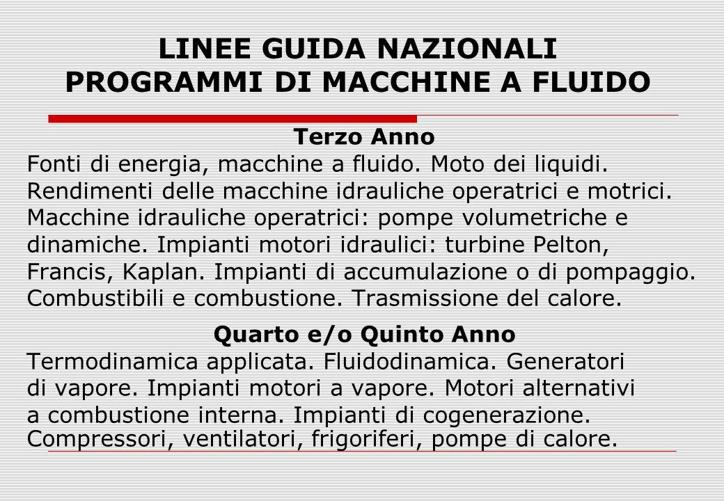 LINEE GUIDA NAZIONALI PROGRAMMI DI MACCHINE A FLUIDO Terzo Anno Fonti di energia, macchine a fluido. Moto dei liquidi. Rendimenti delle macchine idrau