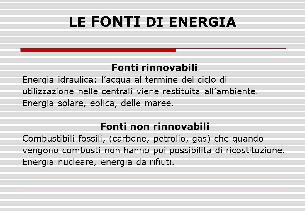 LE FONTI DI ENERGIA Fonti rinnovabili Energia idraulica: l'acqua al termine del ciclo di utilizzazione nelle centrali viene restituita all'ambiente. E