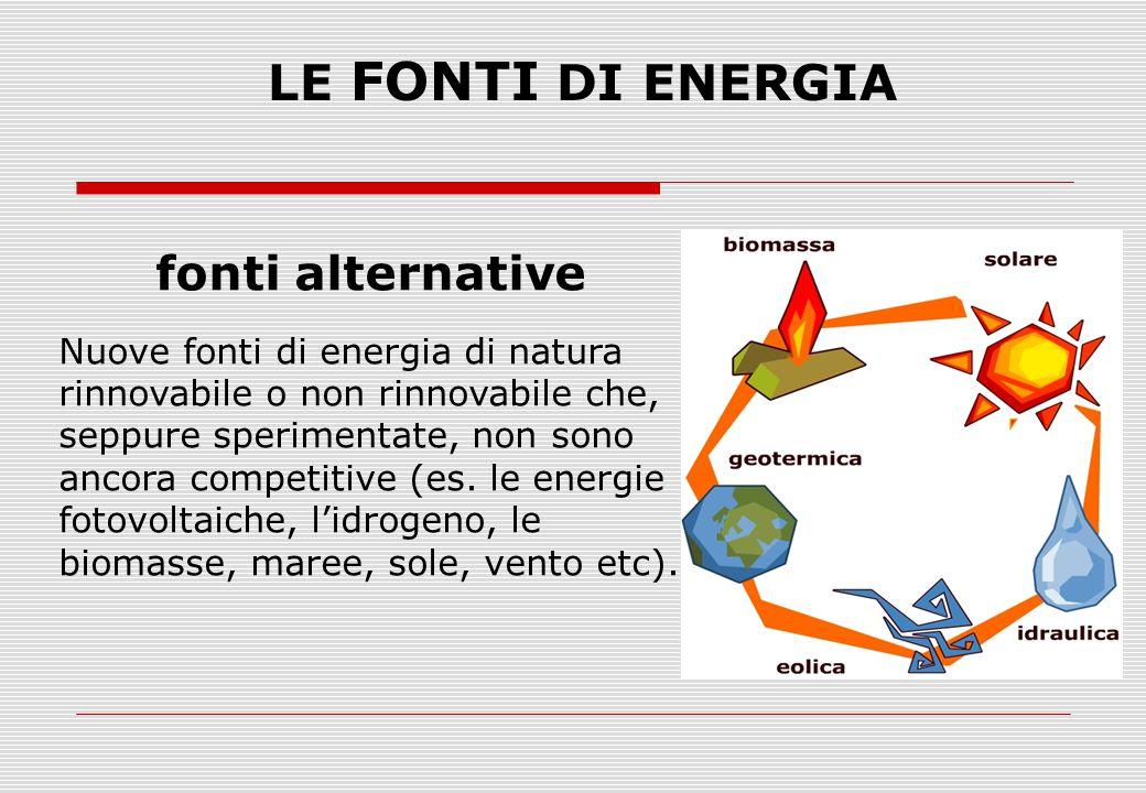 LE FONTI DI ENERGIA fonti alternative Nuove fonti di energia di natura rinnovabile o non rinnovabile che, seppure sperimentate, non sono ancora compet