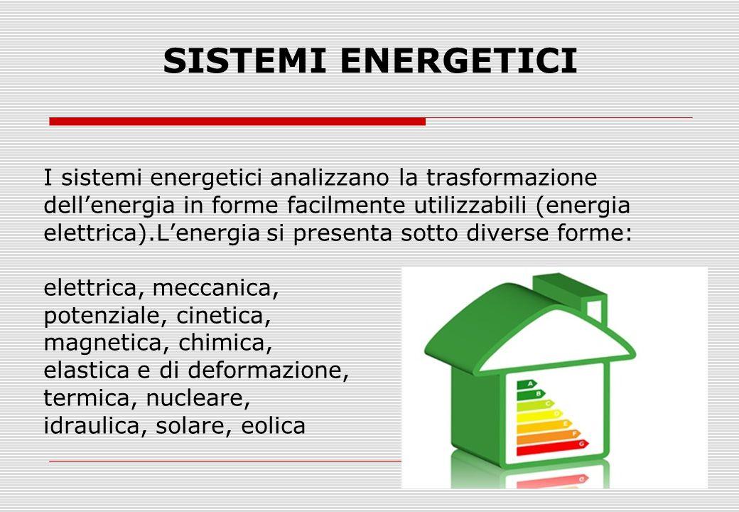 SISTEMI ENERGETICI I sistemi energetici analizzano la trasformazione dell'energia in forme facilmente utilizzabili (energia elettrica).L'energia si pr