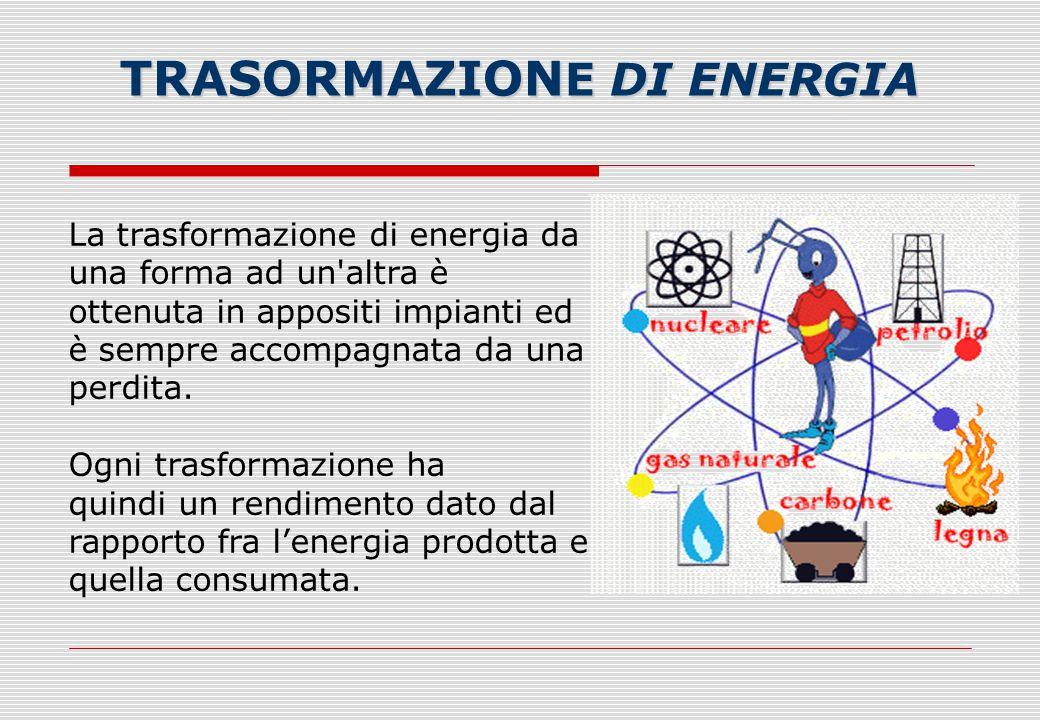 La trasformazione di energia da una forma ad un'altra è ottenuta in appositi impianti ed è sempre accompagnata da una perdita. Ogni trasformazione ha