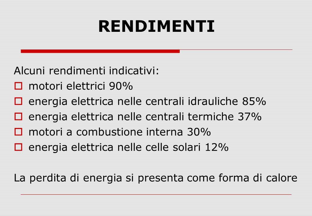 RENDIMENTI Alcuni rendimenti indicativi:  motori elettrici 90%  energia elettrica nelle centrali idrauliche 85%  energia elettrica nelle centrali t