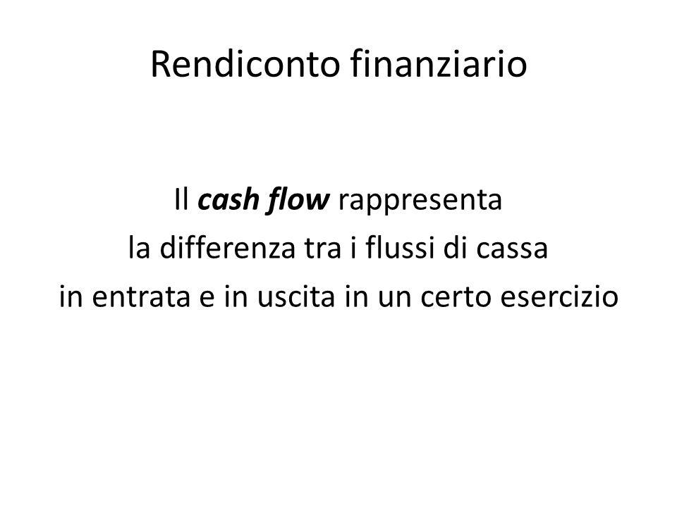 Rendiconto finanziario Il cash flow rappresenta la differenza tra i flussi di cassa in entrata e in uscita in un certo esercizio