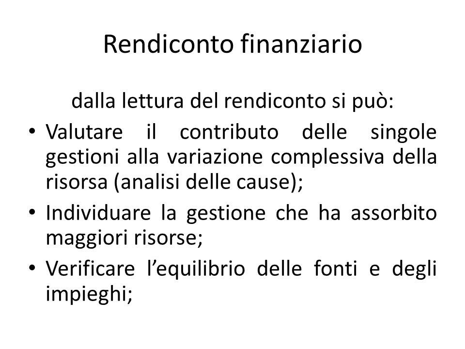 Rendiconto finanziario dalla lettura del rendiconto si può: Valutare il contributo delle singole gestioni alla variazione complessiva della risorsa (a