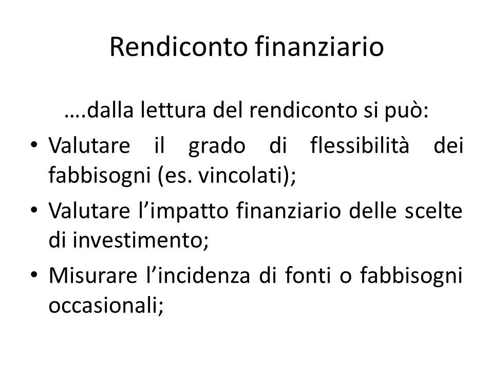 Rendiconto finanziario ….dalla lettura del rendiconto si può: Valutare il grado di flessibilità dei fabbisogni (es. vincolati); Valutare l'impatto fin