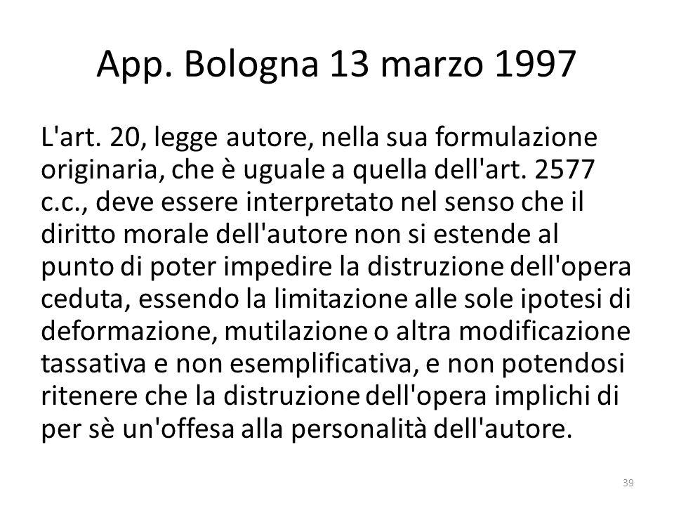 App. Bologna 13 marzo 1997 L art.