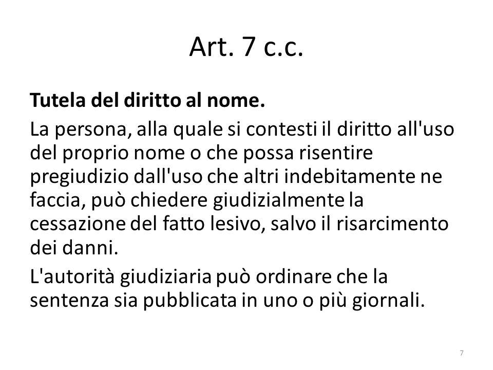 Art. 7 c.c. Tutela del diritto al nome.