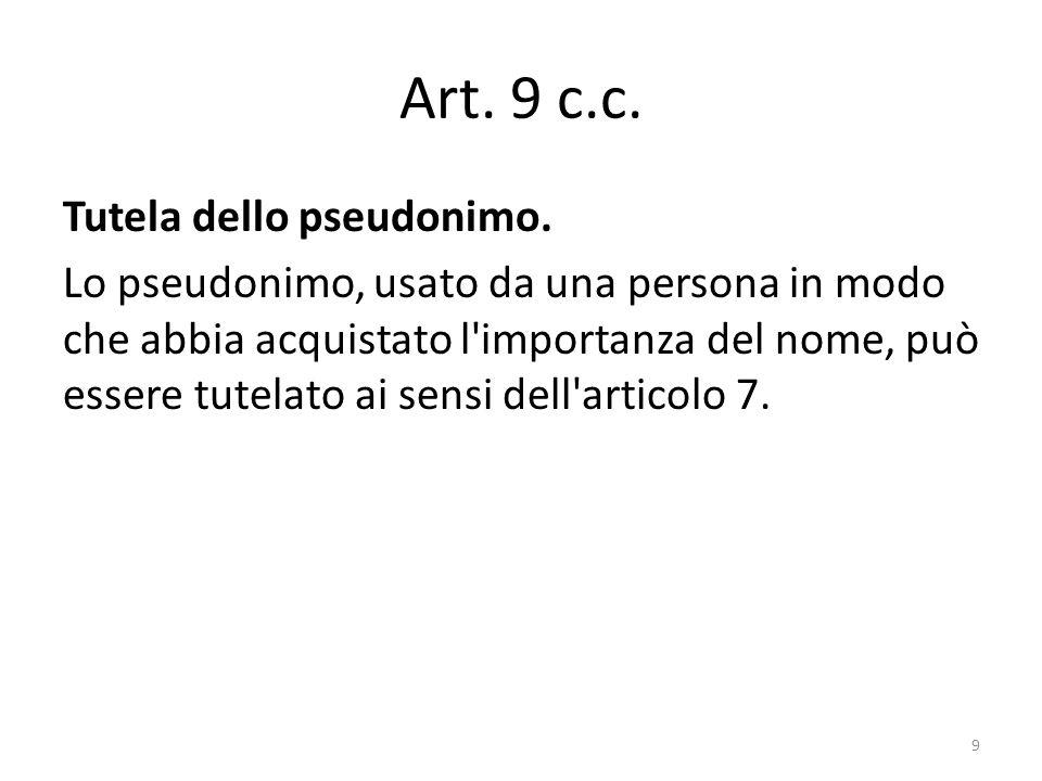 Art. 9 c.c. Tutela dello pseudonimo.