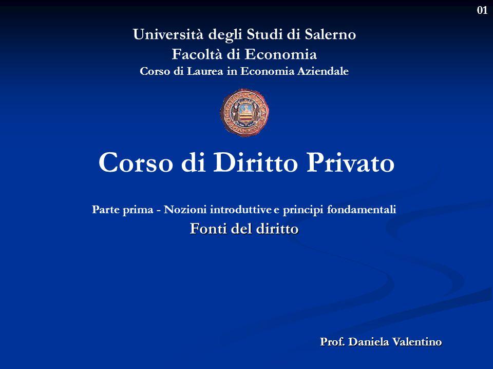 01 Università degli Studi di Salerno Facoltà di Economia Corso di Laurea in Economia Aziendale Prof. Daniela Valentino Corso di Diritto Privato Parte