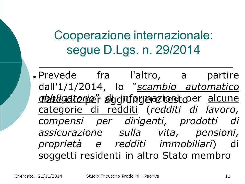 Fate clic per aggiungere testo Cherasco - 21/11/2014Studio Tributario Pradolini - Padova11 Cooperazione internazionale: segue D.Lgs. n. 29/2014 Preved