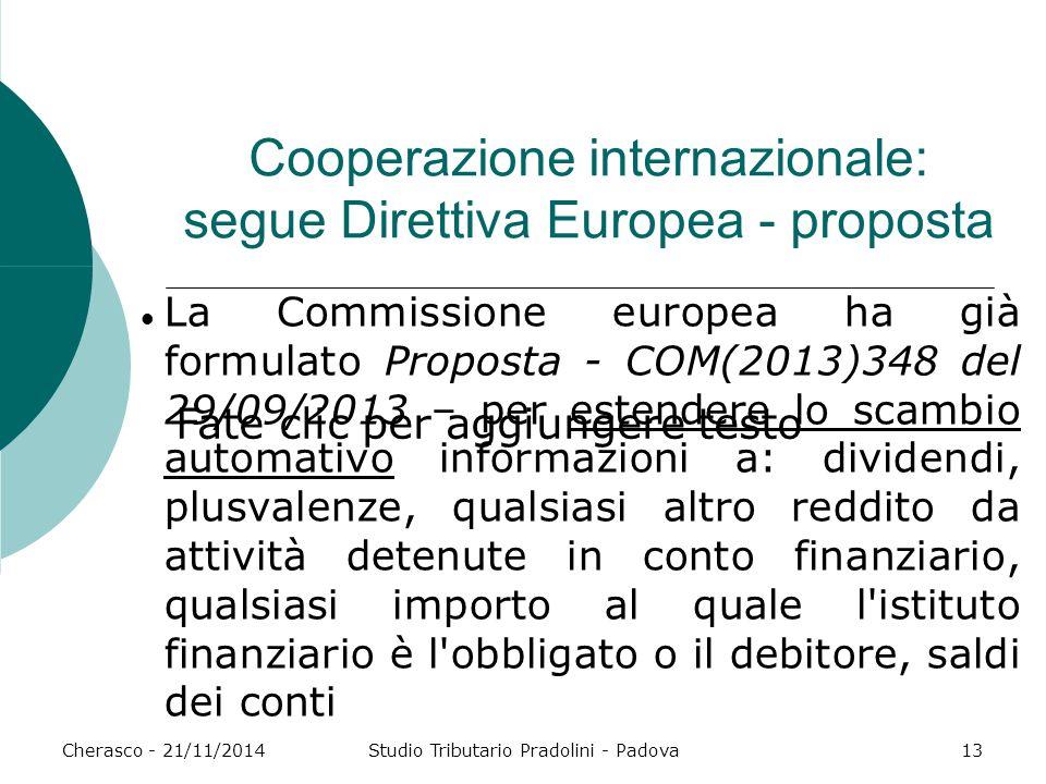 Fate clic per aggiungere testo Cherasco - 21/11/2014Studio Tributario Pradolini - Padova13 Cooperazione internazionale: segue Direttiva Europea - prop