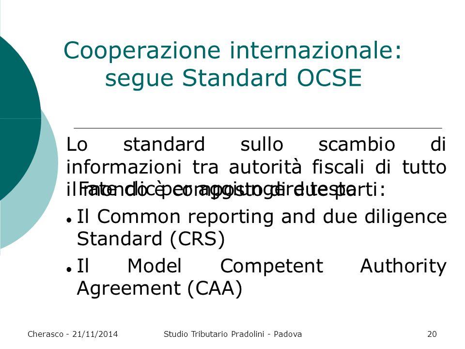 Fate clic per aggiungere testo Cherasco - 21/11/2014Studio Tributario Pradolini - Padova20 Cooperazione internazionale: segue Standard OCSE Lo standar