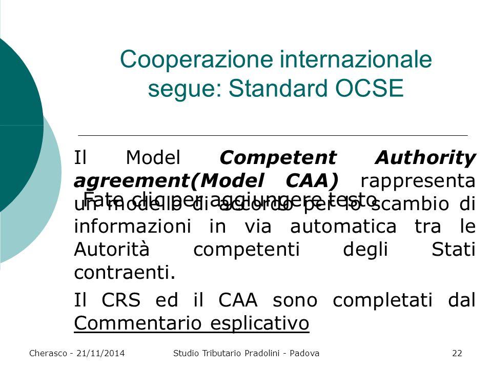 Fate clic per aggiungere testo Cherasco - 21/11/2014Studio Tributario Pradolini - Padova22 Cooperazione internazionale segue: Standard OCSE Il Model C