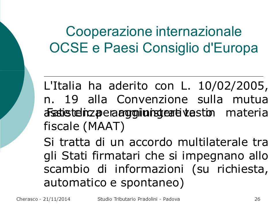 Fate clic per aggiungere testo Cherasco - 21/11/2014Studio Tributario Pradolini - Padova26 Cooperazione internazionale OCSE e Paesi Consiglio d Europa L Italia ha aderito con L.