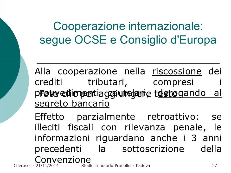 Fate clic per aggiungere testo Cherasco - 21/11/2014Studio Tributario Pradolini - Padova27 Cooperazione internazionale: segue OCSE e Consiglio d'Europ