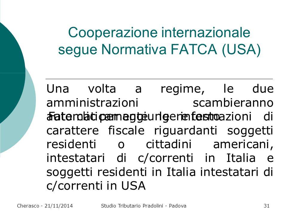 Fate clic per aggiungere testo Cherasco - 21/11/2014Studio Tributario Pradolini - Padova31 Cooperazione internazionale segue Normativa FATCA (USA) Una