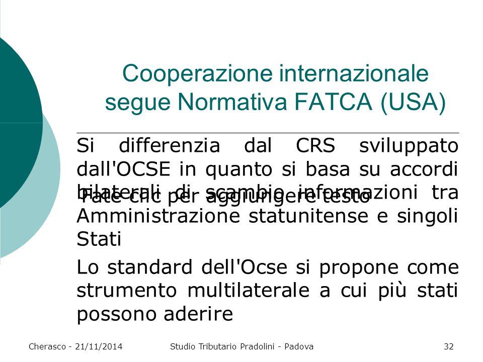 Fate clic per aggiungere testo Cherasco - 21/11/2014Studio Tributario Pradolini - Padova32 Cooperazione internazionale segue Normativa FATCA (USA) Si