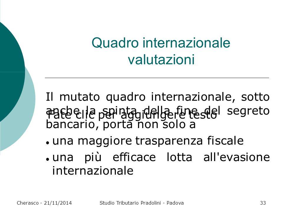 Fate clic per aggiungere testo Cherasco - 21/11/2014Studio Tributario Pradolini - Padova33 Quadro internazionale valutazioni Il mutato quadro internaz