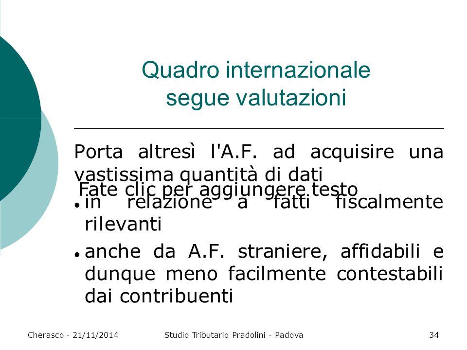 Fate clic per aggiungere testo Cherasco - 21/11/2014Studio Tributario Pradolini - Padova34 Quadro internazionale segue valutazioni Porta altresì l'A.F