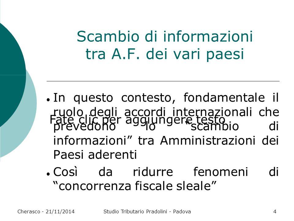 Fate clic per aggiungere testo Cherasco - 21/11/2014Studio Tributario Pradolini - Padova4 Scambio di informazioni tra A.F. dei vari paesi In questo co