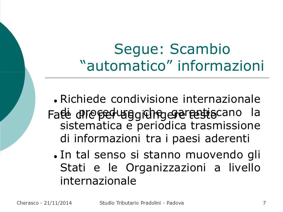 """Fate clic per aggiungere testo Cherasco - 21/11/2014Studio Tributario Pradolini - Padova7 Segue: Scambio """"automatico"""" informazioni Richiede condivisio"""