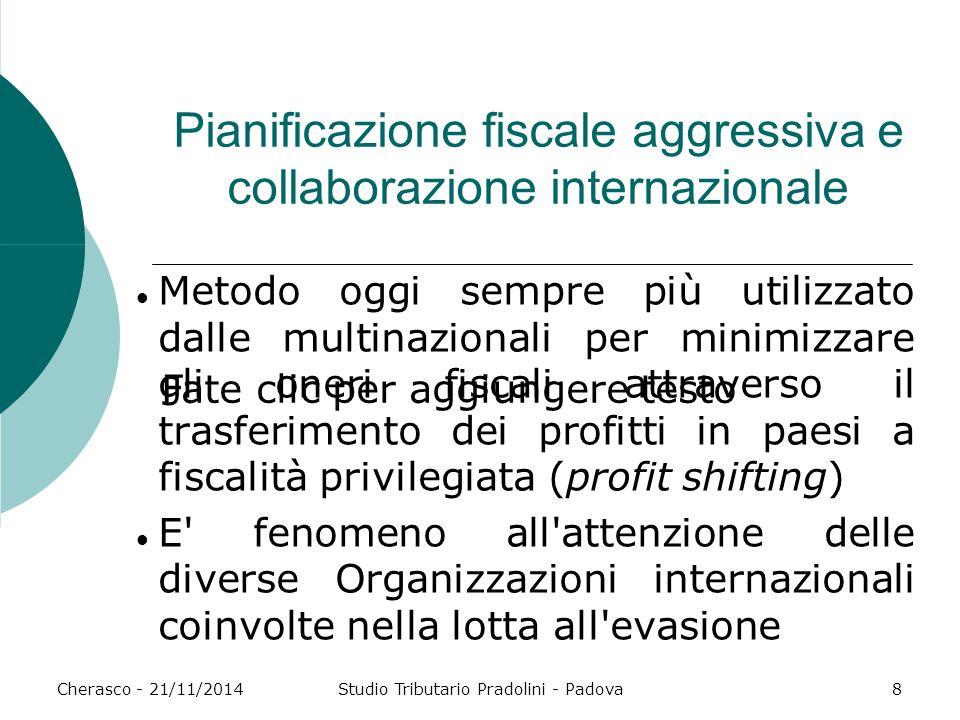 Fate clic per aggiungere testo Cherasco - 21/11/2014Studio Tributario Pradolini - Padova8 Pianificazione fiscale aggressiva e collaborazione internazi