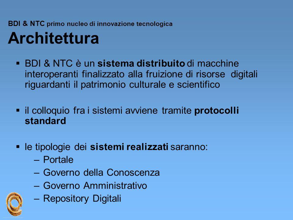 BDI & NTC primo nucleo di innovazione tecnologica Architettura  BDI & NTC è un sistema distribuito di macchine interoperanti finalizzato alla fruizio