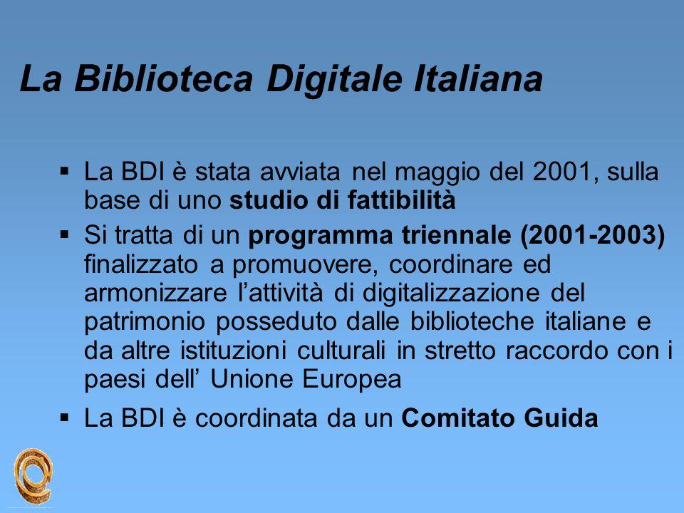 La Biblioteca Digitale Italiana  La BDI è stata avviata nel maggio del 2001, sulla base di uno studio di fattibilità  Si tratta di un programma trie
