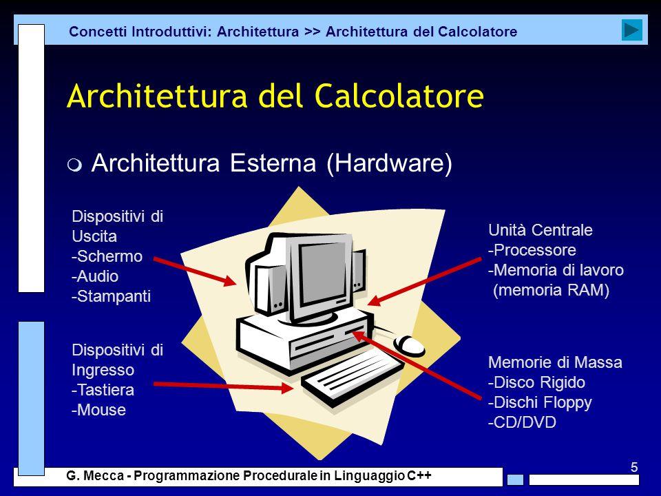 5 G. Mecca - Programmazione Procedurale in Linguaggio C++ Architettura del Calcolatore m Architettura Esterna (Hardware) Concetti Introduttivi: Archit