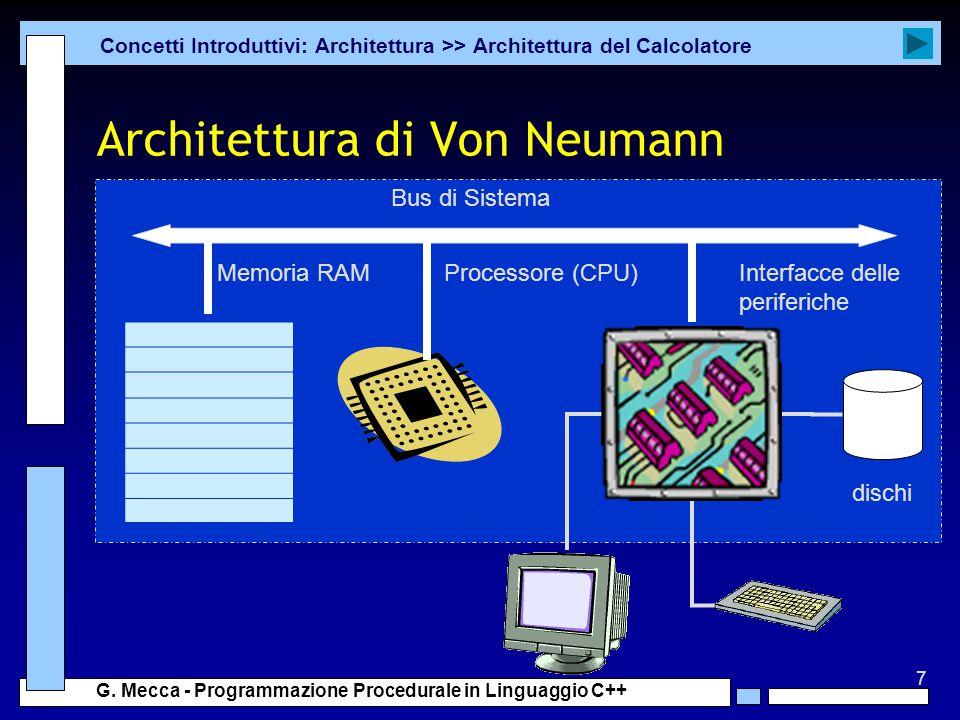 7 G. Mecca - Programmazione Procedurale in Linguaggio C++ Architettura di Von Neumann Concetti Introduttivi: Architettura >> Architettura del Calcolat
