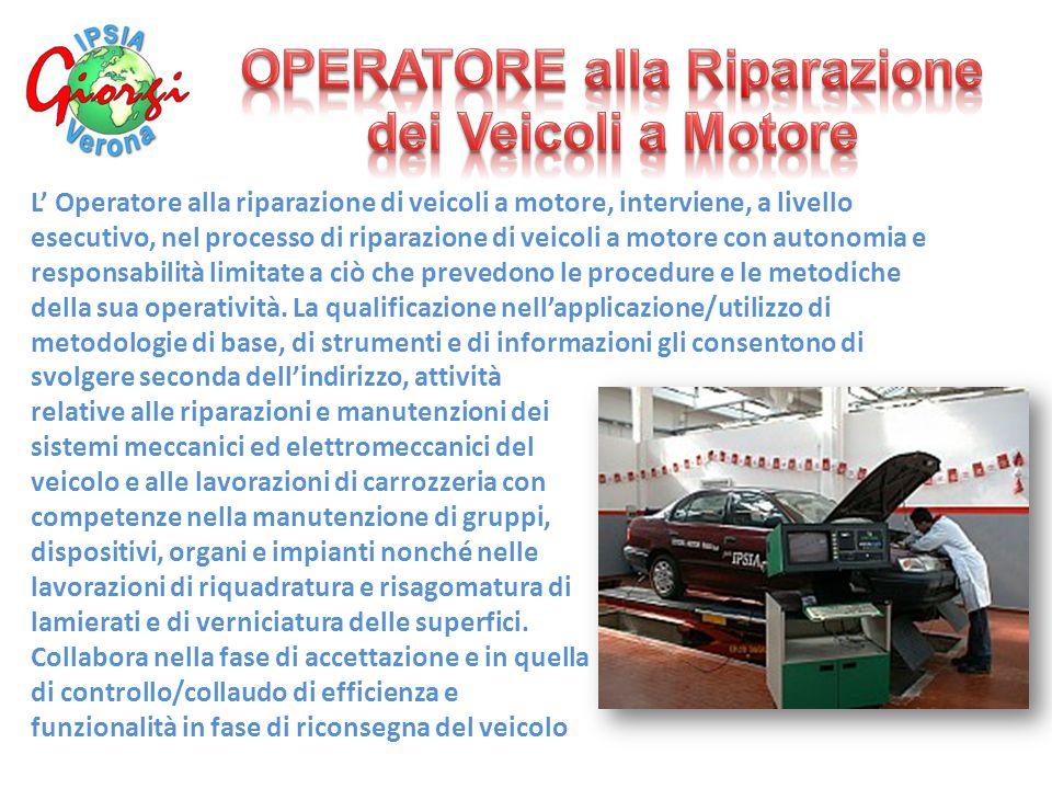 L' Operatore alla riparazione di veicoli a motore, interviene, a livello esecutivo, nel processo di riparazione di veicoli a motore con autonomia e responsabilità limitate a ciò che prevedono le procedure e le metodiche della sua operatività.