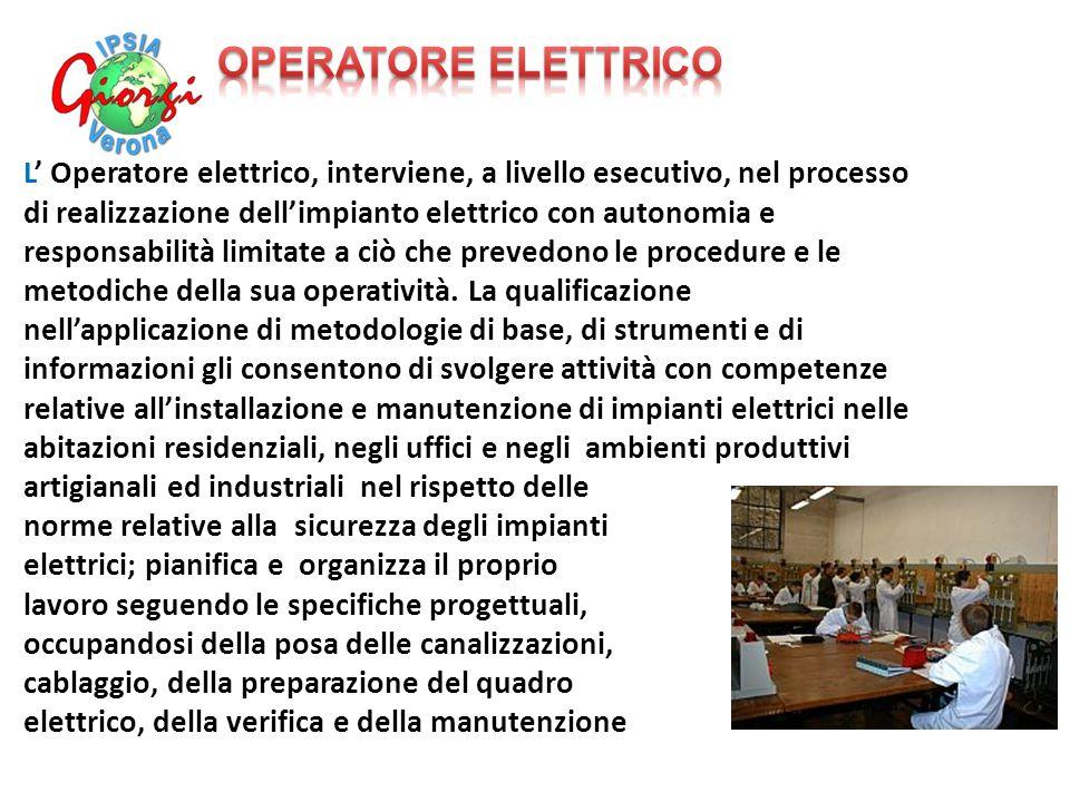 L' Operatore elettrico, interviene, a livello esecutivo, nel processo di realizzazione dell'impianto elettrico con autonomia e responsabilità limitate a ciò che prevedono le procedure e le metodiche della sua operatività.