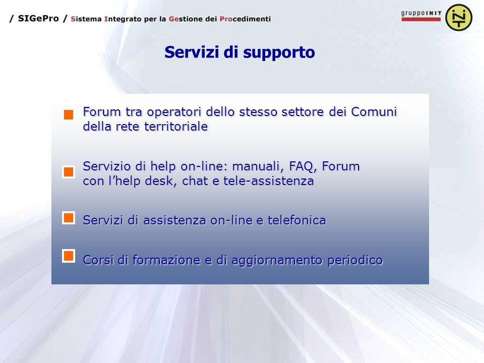 Servizi di supporto Forum tra operatori dello stesso settore dei Comuni della rete territoriale Servizi di assistenza on-line e telefonica Corsi di fo