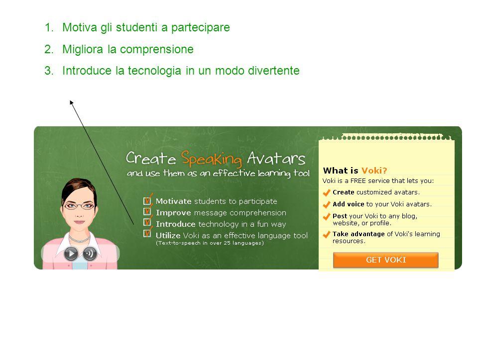 1.Motiva gli studenti a partecipare 2.Migliora la comprensione 3.Introduce la tecnologia in un modo divertente