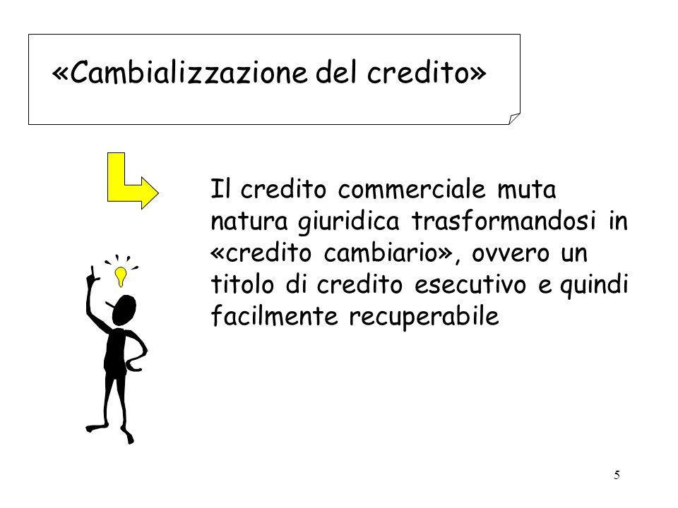 5 «Cambializzazione del credito» Il credito commerciale muta natura giuridica trasformandosi in «credito cambiario», ovvero un titolo di credito esecutivo e quindi facilmente recuperabile