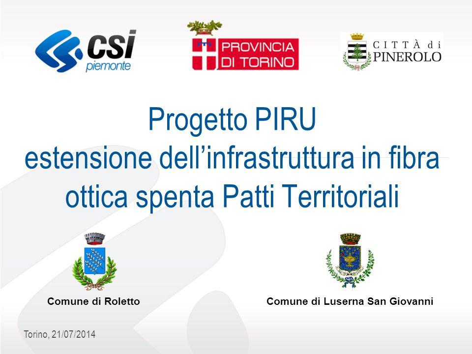 Torino, 21/07/2014 Progetto PIRU estensione dell'infrastruttura in fibra ottica spenta Patti Territoriali Comune di RolettoComune di Luserna San Giovanni