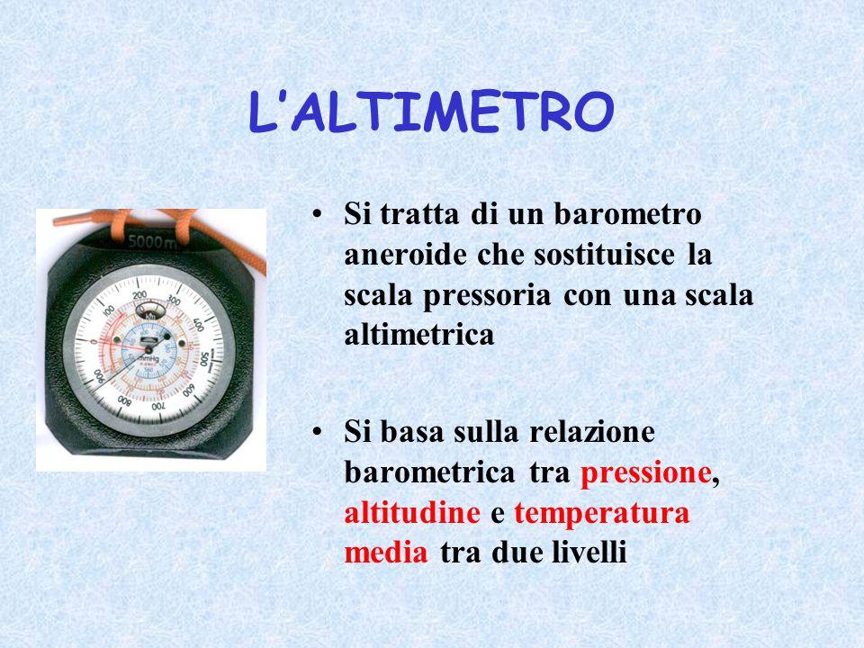 L'ALTIMETRO Si tratta di un barometro aneroide che sostituisce la scala pressoria con una scala altimetrica Si basa sulla relazione barometrica tra pr