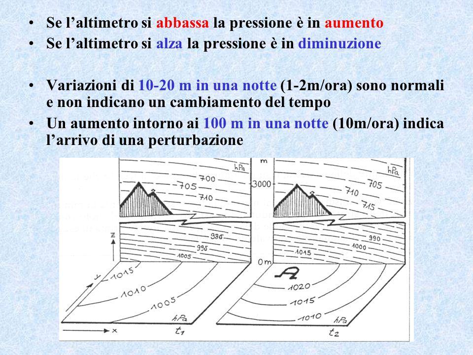 Se l'altimetro si abbassa la pressione è in aumento Se l'altimetro si alza la pressione è in diminuzione Variazioni di 10-20 m in una notte (1-2m/ora)