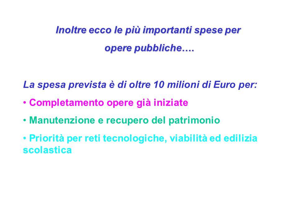 Inoltre ecco le più importanti spese per opere pubbliche….