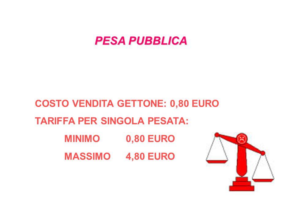 PESA PUBBLICA COSTO VENDITA GETTONE: 0,80 EURO TARIFFA PER SINGOLA PESATA: MINIMO 0,80 EURO MASSIMO 4,80 EURO