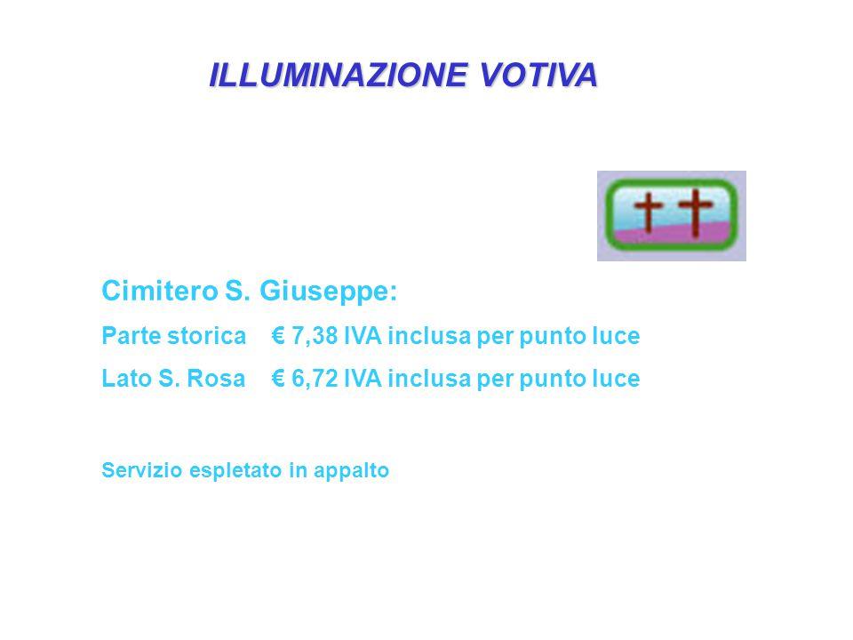ILLUMINAZIONE VOTIVA Cimitero S. Giuseppe: Parte storica€ 7,38 IVA inclusa per punto luce Lato S.