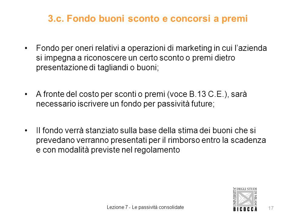 3.c. Fondo buoni sconto e concorsi a premi Fondo per oneri relativi a operazioni di marketing in cui l'azienda si impegna a riconoscere un certo scont