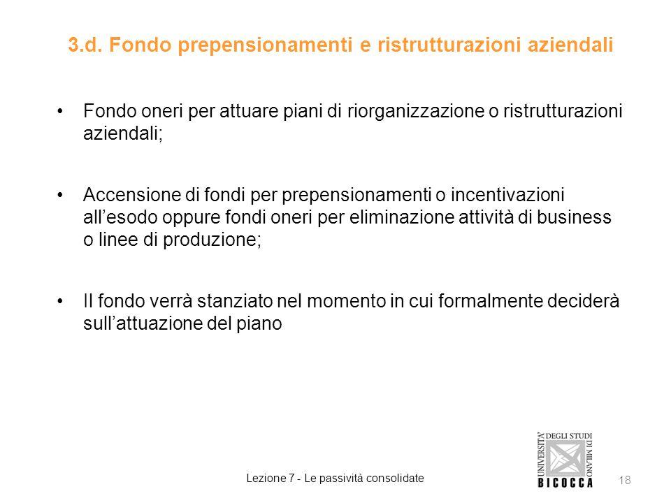 3.d. Fondo prepensionamenti e ristrutturazioni aziendali Fondo oneri per attuare piani di riorganizzazione o ristrutturazioni aziendali; Accensione di