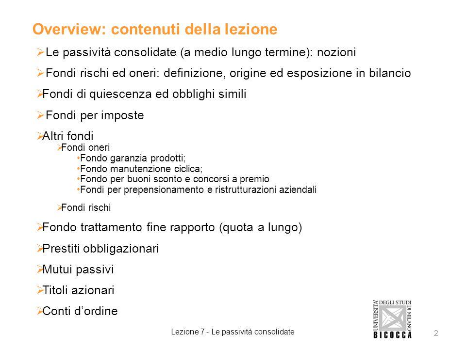 Overview: contenuti della lezione  Le passività consolidate (a medio lungo termine): nozioni  Fondi rischi ed oneri: definizione, origine ed esposiz