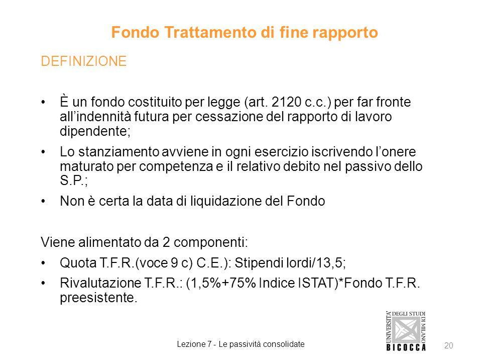 Fondo Trattamento di fine rapporto DEFINIZIONE È un fondo costituito per legge (art. 2120 c.c.) per far fronte all'indennità futura per cessazione del
