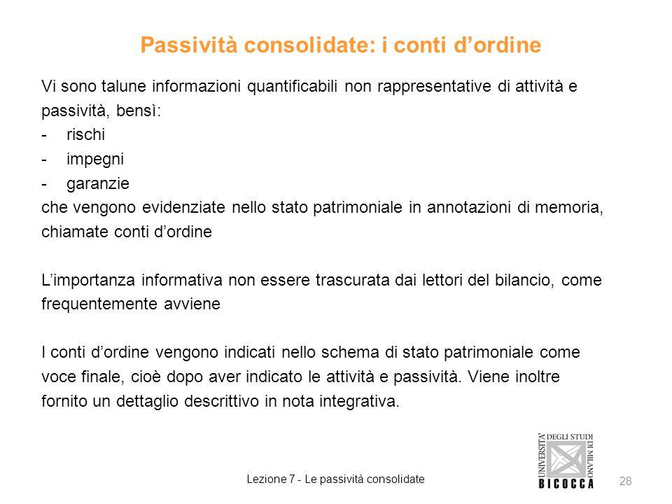 Passività consolidate: i conti d'ordine Vi sono talune informazioni quantificabili non rappresentative di attività e passività, bensì: -rischi -impegn
