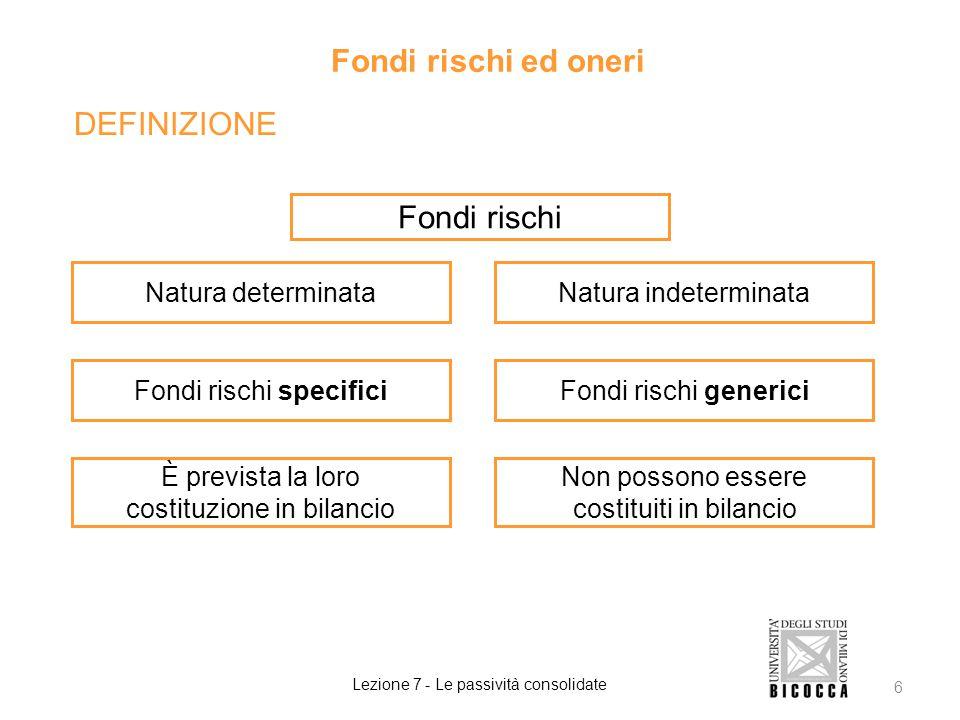DEFINIZIONE Fondi rischi ed oneri Lezione 7 - Le passività consolidate 6 Fondi rischi Natura determinataNatura indeterminata Fondi rischi specificiFon