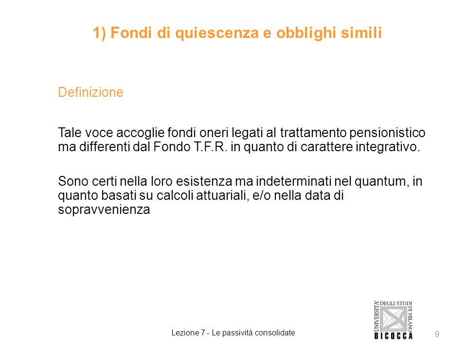 2 fattispecie 1) Fondi di quiescenza e obblighi simili Lezione 7 - Le passività consolidate 10 Fondi Pensione in aggiunta al T.F.R.