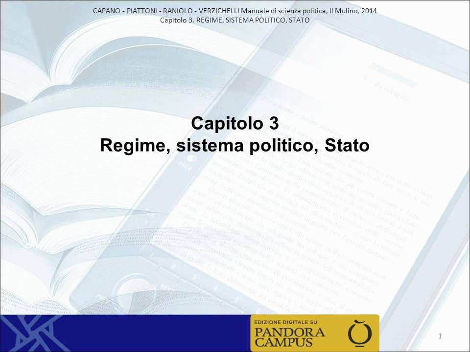 CAPANO - PIATTONI - RANIOLO - VERZICHELLI Manuale di scienza politica, Il Mulino, 2014 Capitolo 3. REGIME, SISTEMA POLITICO, STATO Capitolo 3 Regime,