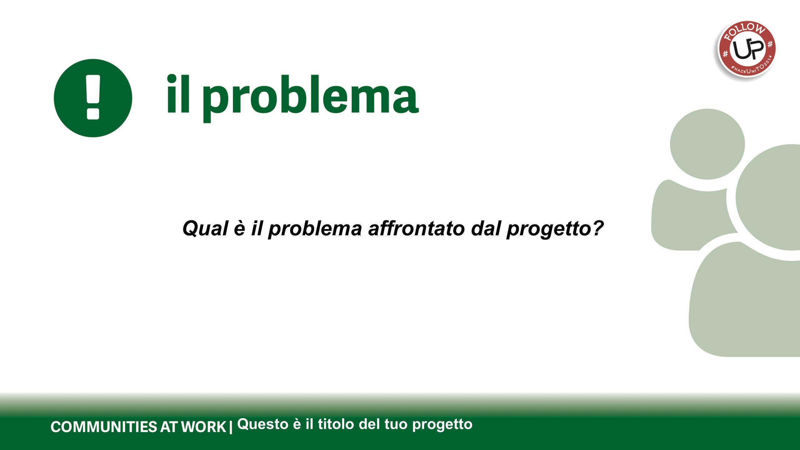 Questo è il titolo del tuo progetto Qual è il problema affrontato dal progetto?